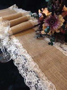 "Burlap and Ivory Lace Table Runner - Wedding Table Runner - 14"" Width; Lace on Edges - for Home Decor, Rustic Wedding Party Linens"