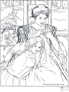 Loads of coloring pages from real artists like Cassatt, etc.