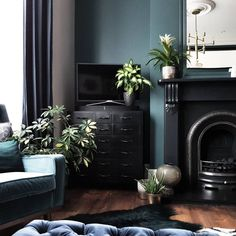 Gallery — Restoring Lansdowne Living Room Interior, Home Living Room, Cast Iron Beds, Slate Hearth, Modern Bedside Table, Mid Century Sideboard, Pine Floors, Vintage Interiors, House Painting