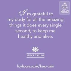 I'm grateful to my body for all the amazing things it does every single second, to keep me alive and healthy. Yoga Quotes, Words Quotes, Sayings, Body Love, Loving Your Body, Im Grateful, Thankful, Positive Body Image, Recovery Quotes