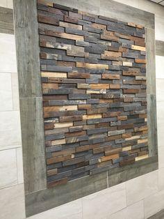 Reclaimed Wood Art, Rustic Wood Walls, Wooden Walls, Wood Panel Walls, Wood Paneling, Panelling, Wall Shelves Design, Wall Design, Steel Building Homes