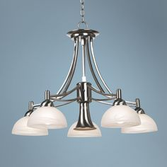 Contemporary Brushed Nickel Downlight Chandelier -