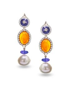 Farah Khan gold earrings featuring diamonds (4.54ct), tanzanites (16.30ct), carnelian (18.93ct) and South Sea pearls (50.09cts). (=)