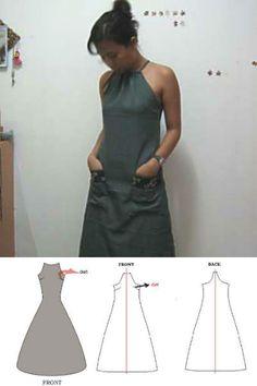 Drawstring halter party dress pattern