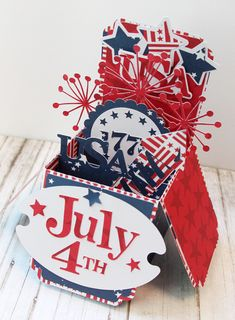 Bella Blvd All American collection. July 4th explosion card by DT Member Diana Fisher