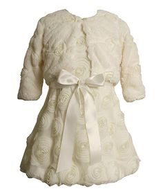 This Ivory Rose A-Line Dress & Faux Fur Bolero - Toddler & Girls is perfect! #zulilyfinds