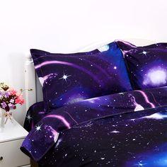 Dark Purple Bedrooms, Purple Bedroom Decor, Purple Bedding Sets, Comforter Sets, Galaxy Bedroom, Galaxy Bedding, Kids Bedroom, Bedroom Ideas, Magical Bedroom