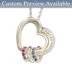 Lovely and affordable Mother's Day gifts for mom. Forever In A Mother's Heart Personalized Heart-Shaped Birthstone Pendant Gift Mother Jewelry, Mother Rings, Mother Necklace, Family Necklace, Birthstone Pendant, Birthstone Necklace, Diamond Pendant Necklace, Pendant Jewelry, Ring Necklace