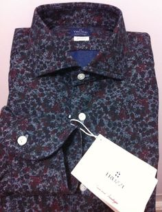 TRUZZI Milano Hand Made luxury Tailored Fantastic Shirt ,M/50/40US NWT$475 #TRUZZI #ButtonFrontluxuryartisanalcasual
