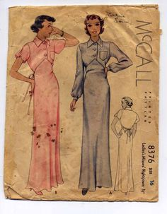 vintage nightgowns 1930 | 1930s Nightgown Rare Vintage Sewing Pattern by PatternAndStitch, $64 ...