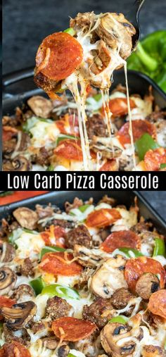 Low Carb Pizza Casserole is an easy keto dinner recipe made with all of your favorite pizza toppings pepperoni green peppers sausage mushrooms and lots of mozzarella chee. Pizza Casserole Low Carb, Low Carb Pizza, Low Carb Recipes, Diet Recipes, Cooking Recipes, Healthy Recipes, Recipies, No Carb Dinner Recipes, Diabetic Dinner Recipes