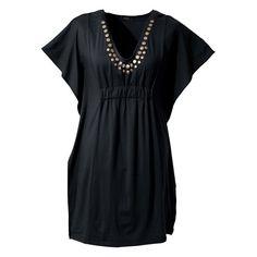 Vestido de malha preto manga curta com decote V