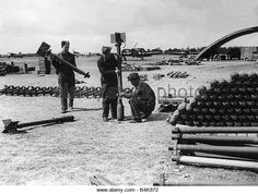 Armourers at Thorney Island assembling the Typhoon's most fearsome weapon, the 3 inch rocket projectile. Westland Whirlwind, Hawker Typhoon, Hawker Hurricane, Royal Air Force, Eindhoven, Destruction, Troops, Wwii, Aircraft