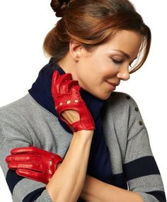Women's Italian Leather Driving Gloves with Contrast Stitching