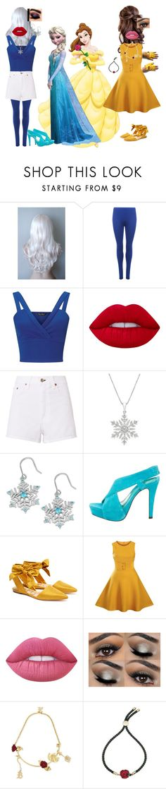 """Elsa and Belle!"" by batgirl-at-the-disco3 ❤ liked on Polyvore featuring Disney, WearAll, Miss Selfridge, Lime Crime, rag & bone, Fremada, Diane Von Furstenberg, Sam Edelman, Christopher Kane and Atelier Swarovski"