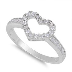 925 Sterling Silver CZ Deep Set Heart Ring 9MM