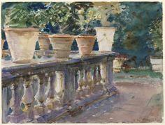 """Villa di Marlia, Lucca: The Balustrade,"" 1910, John Singer Sargent"