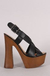 Bamboo Woven Chunky Faux Wooden Platform Heel