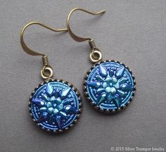Sapphire Glass Earrings - Edelweiss Earrings - Czech Glass Jewelry - Sapphire Jewelry - Vintage Button Jewelry - Edelweiss Jewelry - Small
