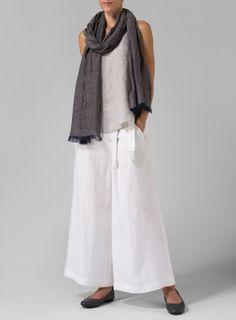 Linen Thin Strap Cami With Linen Wide-Leg Pants Set
