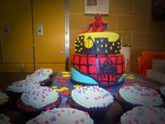 Spider-man came and cupcakes