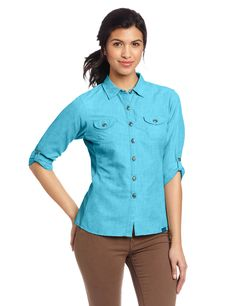 Outdoor Research Women's Reflection Long Sleeve Shirt, Rio, Large. Front Button Closures. Lightweight and Breathable. Wicking and Quick Drying. Breathable Stretch Underarm and Side Panels. Sleeve Roll-Up Tabs.