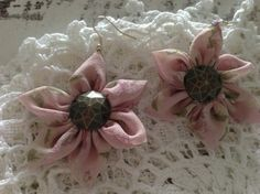 Orecchini Fiore in chiffon di seta rosa cipria