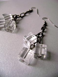 Dangle ice cube gunmetal chain earrings Sparkles by DivinaLocura