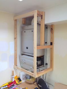 How to make an simple and attractive DIY boiler cover Boiler Cupboard Wooden Frame - Kitchen Furniture Storage Utility Cupboard, Airing Cupboard, Cupboard Storage, Cupboard Ideas, Wooden Cupboard, Larder Cupboard, Alcove Cupboards, Bedroom Cupboards, Kitchen Cupboards