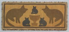 AMERICAN FURNITURE & DECORATIVE ARTS - SALE 2337 - LOT 246 - APPLIQUED COTTON AND BURLAP FOLK ART TEXTILE PANEL WITH CATS, AMERICA, EARLY 20TH CENTURY, RECTANGULAR BUR... - Skinner Inc