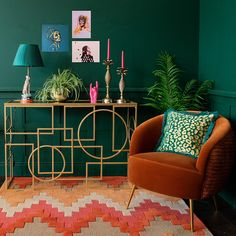 The handmade Gold Links Mirror Top Console Table is a striking geometric design in gold. The open design adds a feeling of space and light in your room. Dark Green Living Room, Green Dining Room, Living Room Decor Green Couch, Blue Green Rooms, Teal Rooms, Dark Green Walls, Dark Living Rooms, Green Kitchen, Kitchen Decor