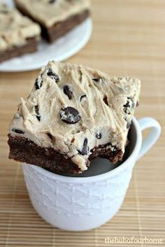 Cookie Dough Brownies, good as a snack. Cookie Dough Brownies, Cookie Dough Recipes, Brownie Recipes, Baking Recipes, Frosted Brownies, Cookie Dough Frosting, Cheese Brownies, Box Brownies, Mint Brownies