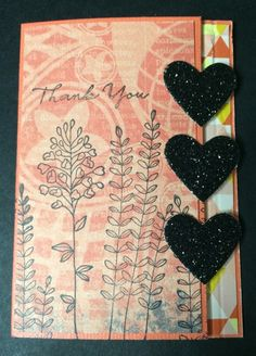 ATC {Triple} Latch Card by Beverly Stewart, aka ruby-heartedmom - Cards and Paper Crafts at Splitcoaststampers.  Stampin' Up Hearts Framelits used, plus SU stamp sets: Flowering Fields, What I Love.