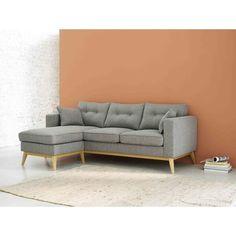 Sofá esquinero modulable escandinavo de 4/5 plazas de tela gris claro Brooke | Maisons du Monde