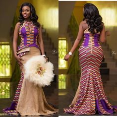 These are the sweetest 2019 kente styles you'll see, ladies! Kente is a beautiful fabric common among the Ghanaians. African Formal Dress, African Print Wedding Dress, African Traditional Wedding Dress, African Fashion Traditional, Long African Dresses, African Wedding Attire, Latest African Fashion Dresses, African Print Dresses, African Attire