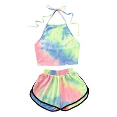 Halter Neck Water Color Crop Top With Ringer Shorts 2019 Summer Sleeveless Tie Dye Shorts Women Sets Multi Girls Fashion Clothes, Teen Fashion Outfits, Outfits For Teens, Cute Clothes For Girls, Teenage Girl Clothes, Tween Fashion, Crop Top Und Shorts, Crop Top Outfits, Short Shorts