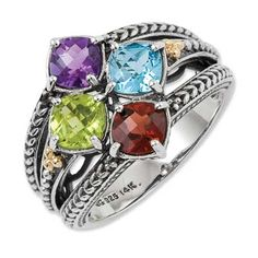 Mother's Cushion-Cut Simulated Birthstone Ring in Sterling Silver and 14K Gold (4 Stones)