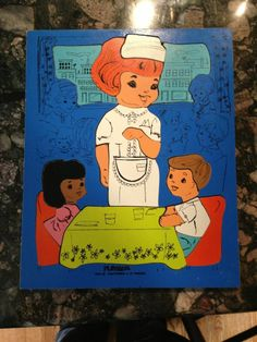 Vintage Wooden Playskool Tray Puzzle 195-12 Waitress 19 Pieces Good Cond.