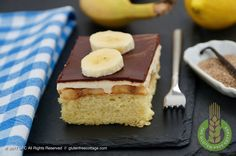 Super delicious gluten-free banana cake with chocolate glaze truly from scratch. Step-by-step recipe with lots of pics! Chocolate Glaze Recipes, Chocolate Cake, Gluten Free Banana, Gluten Free Recipes, Dairy Free, Cheesecake, Homemade, Celiac, Vegan