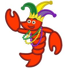 Happy Lobster with Beads and Crown Applique Machine Embroidery Digitized Design Pattern