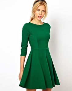 emerald dress in a great structured skater cut