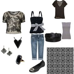 black and white, created by lauriesiobhan on Polyvore