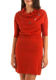 Academy Days Dress in Pumpkin - Orange, Solid, Buttons, Casual, A-line, 3/4 Sleeve, Fall, Sweater Dress, Winter, Mid-length