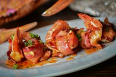 Bacon-Wrapped Shrimp: Double smoked bacon, cheese blend, chili lime sauce.