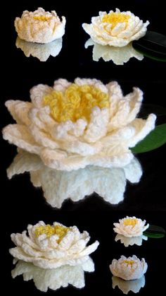Mirrored glass display of crochet water lilies ~ free pattern ᛡ