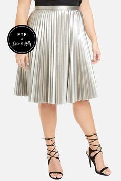 cc1300f9f642 Plus Size 24K Magic Gold Pleated Skirt Trendy Plus Size Fashion