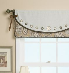 For sewing room, button curtains!
