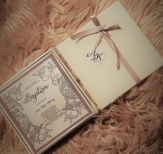 Girls rose gold foiled boxed invitation