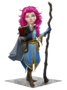 f Gnome Wizard LG Robes Cloak Staff Magic Book female urban City Tower lg Female Character Design, Character Concept, Character Art, Character Sketches, Character Ideas, Concept Art, Face Characters, Fantasy Characters, Fantasy Inspiration