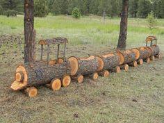 Log train planter: